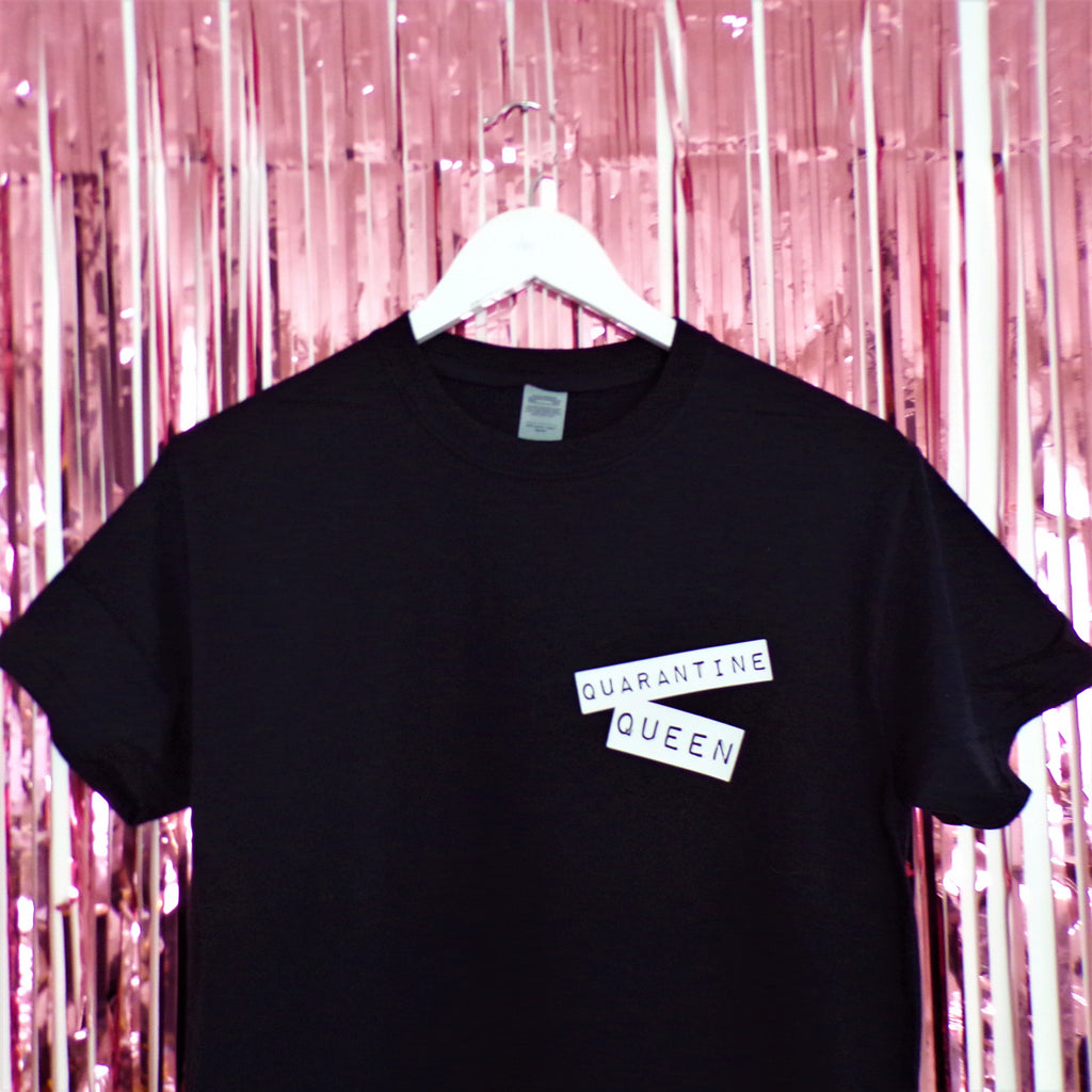 Quarantine Queen T-shirt | Black ,Pink Clouding