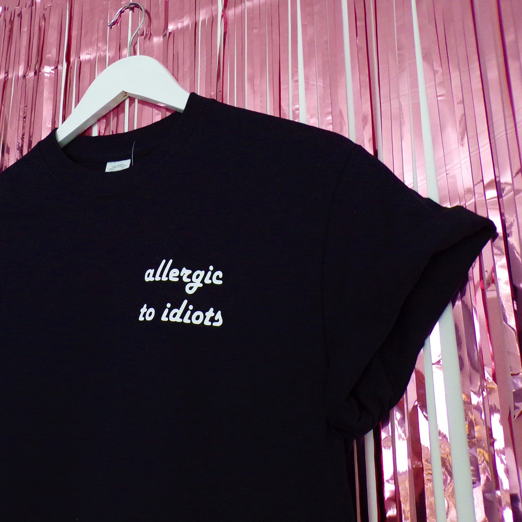 Allergic to Idiots T-shirt | Black ,Pink Clouding