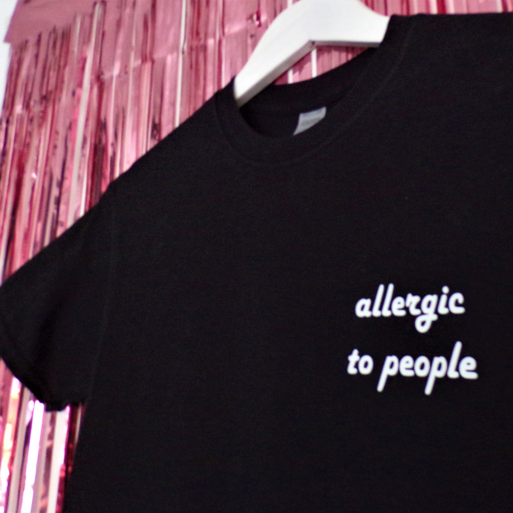 Allergic to People T-shirt | Black ,Pink Clouding