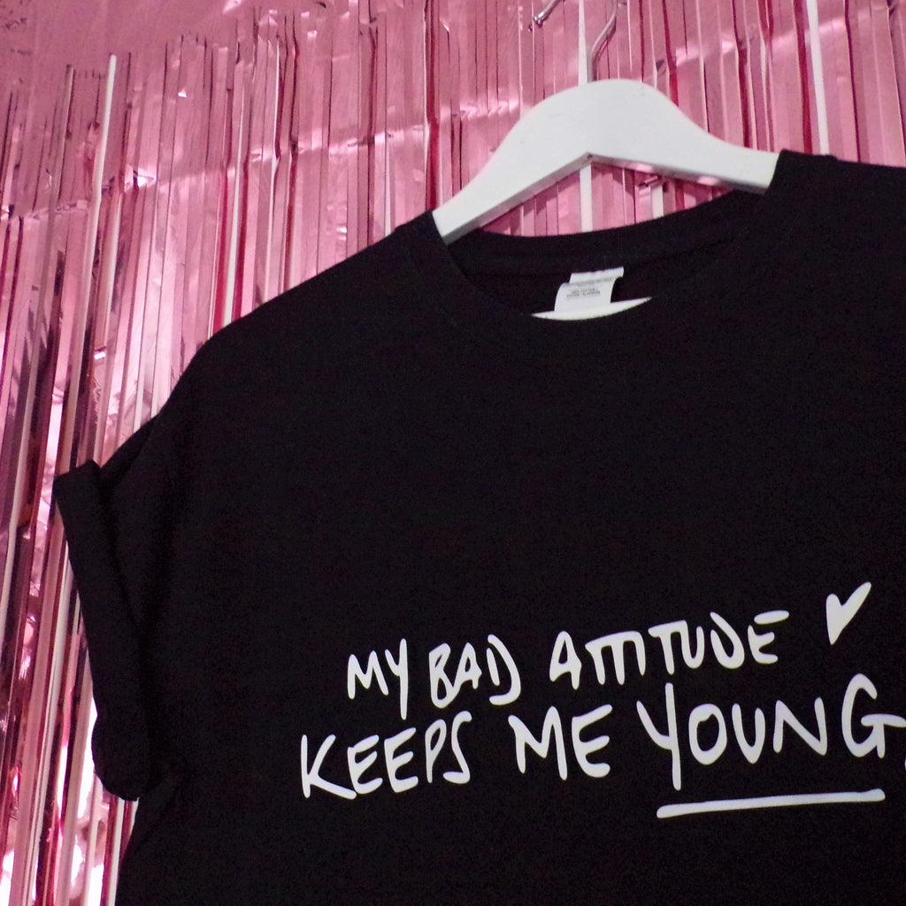 My Bad Attitude T-shirt | Black ,Pink Clouding