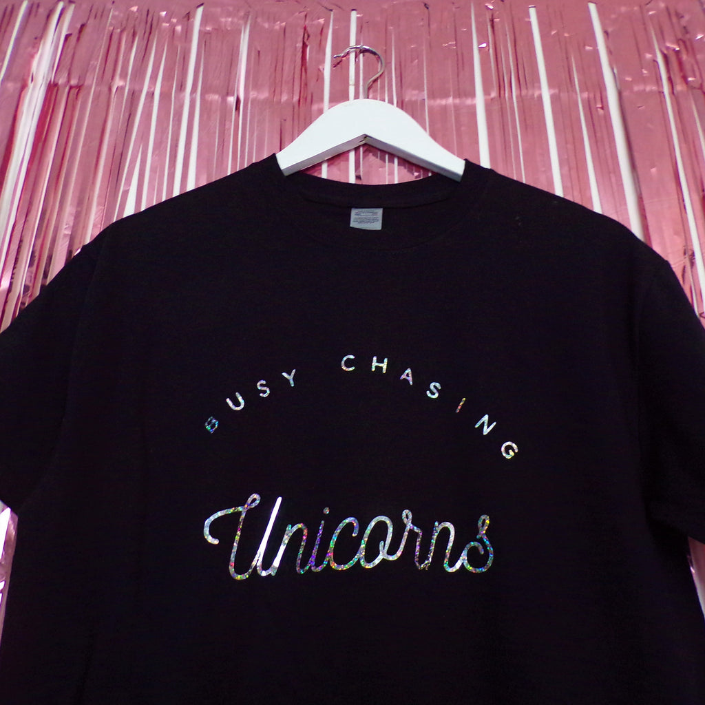 Busy Chasing Unicorns T-shirt | Black ,Pink Clouding