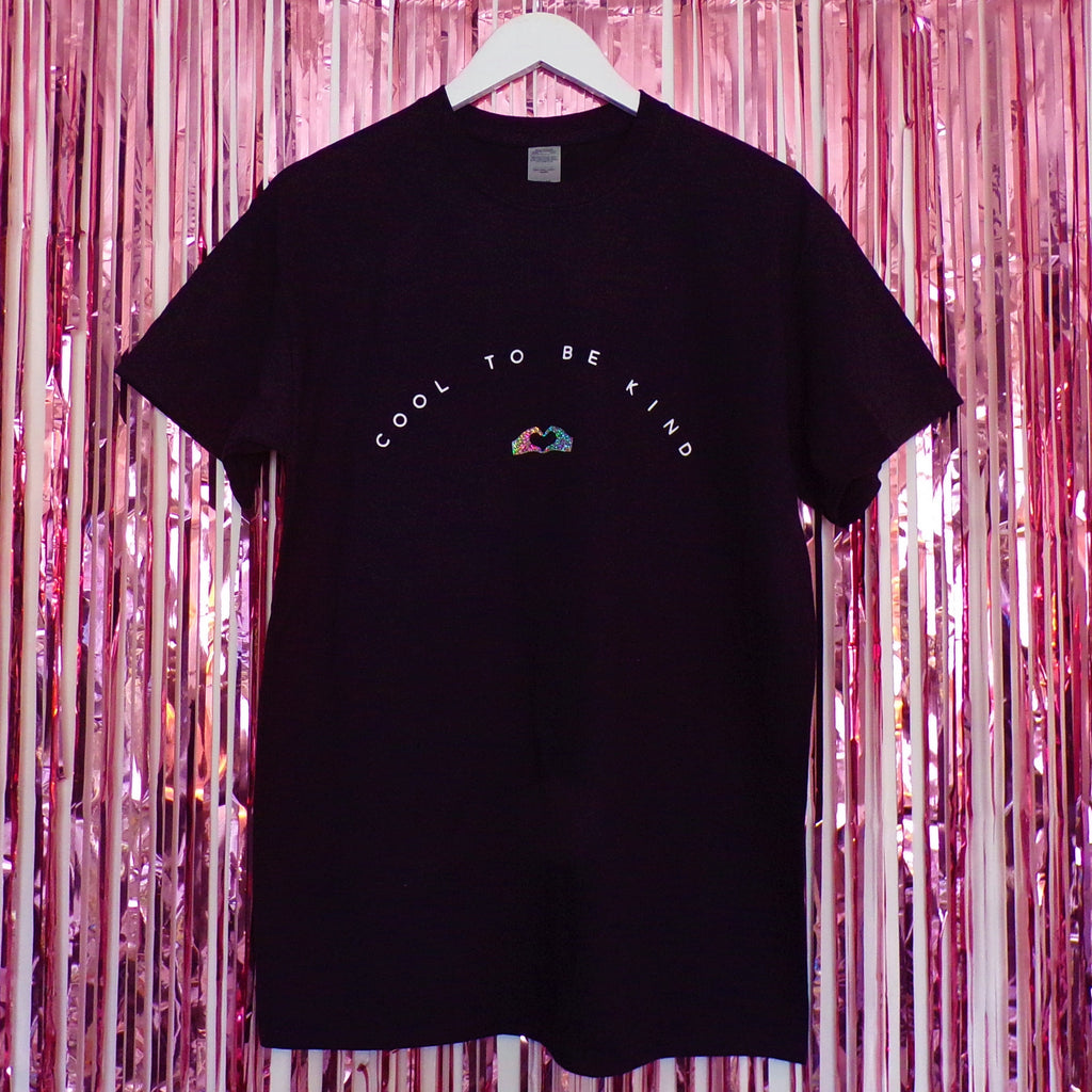 Cool to be Kind T-shirt | Black ,Pink Clouding