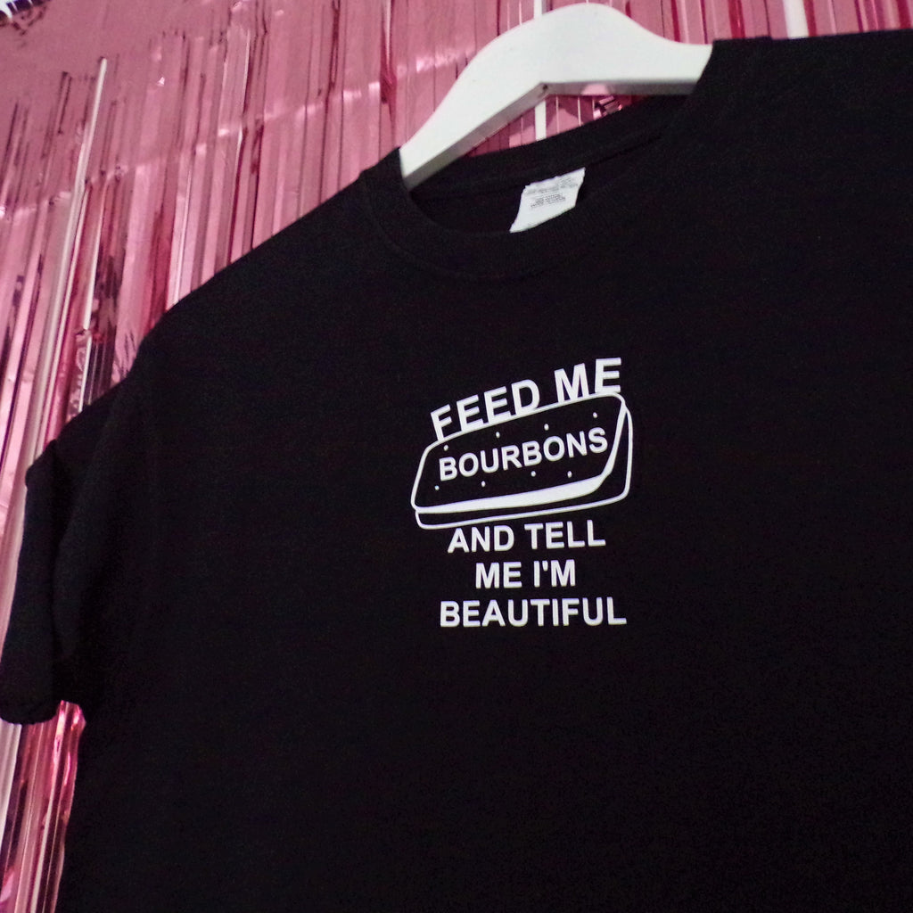 Feed Me Bourbons T-shirt | Black ,Pink Clouding