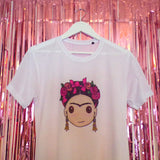 Frida T-shirt | White | Paula and the Pencils ,Pink Clouding