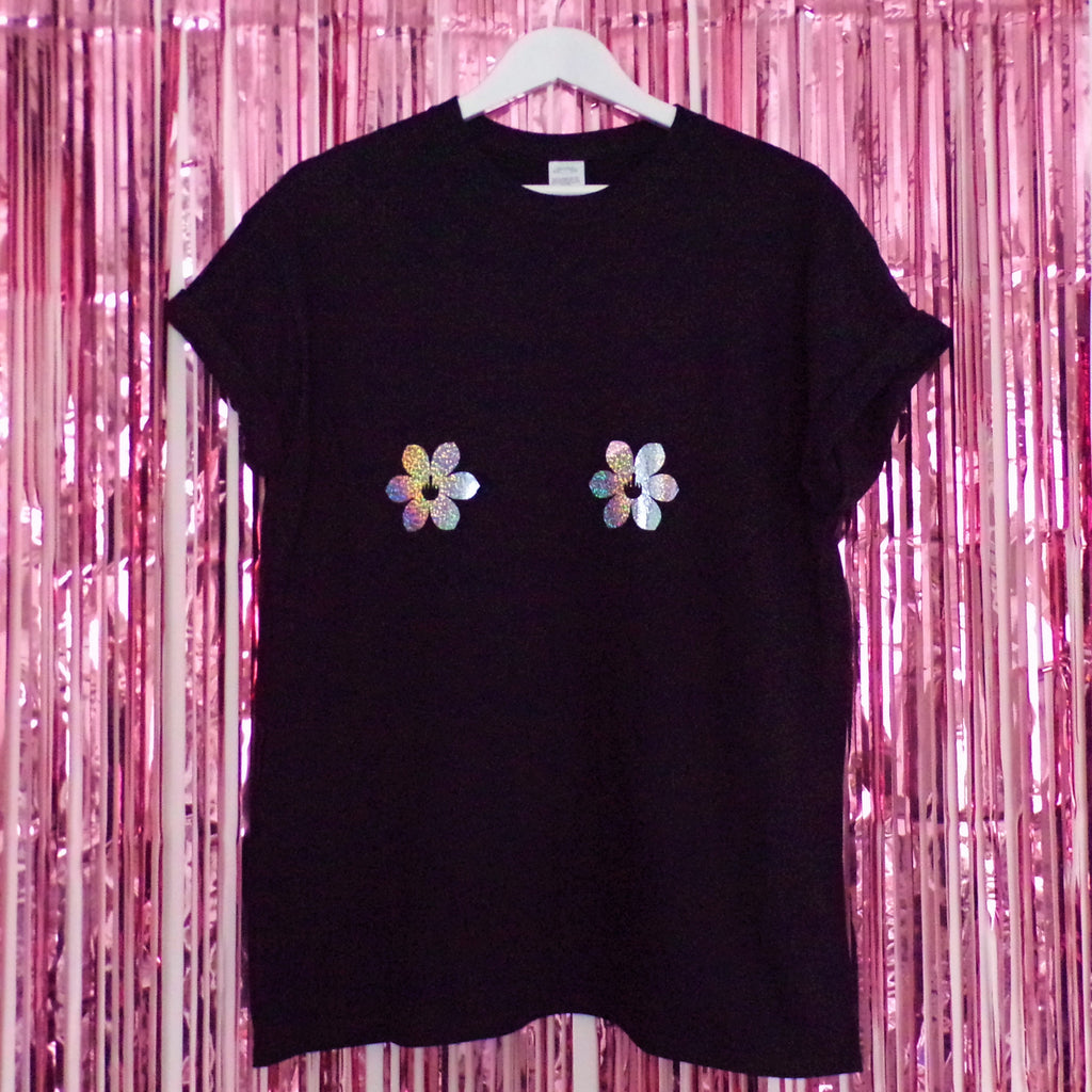 Tits Holographic Flower Nipples T-shirt | Black ,Pink Clouding