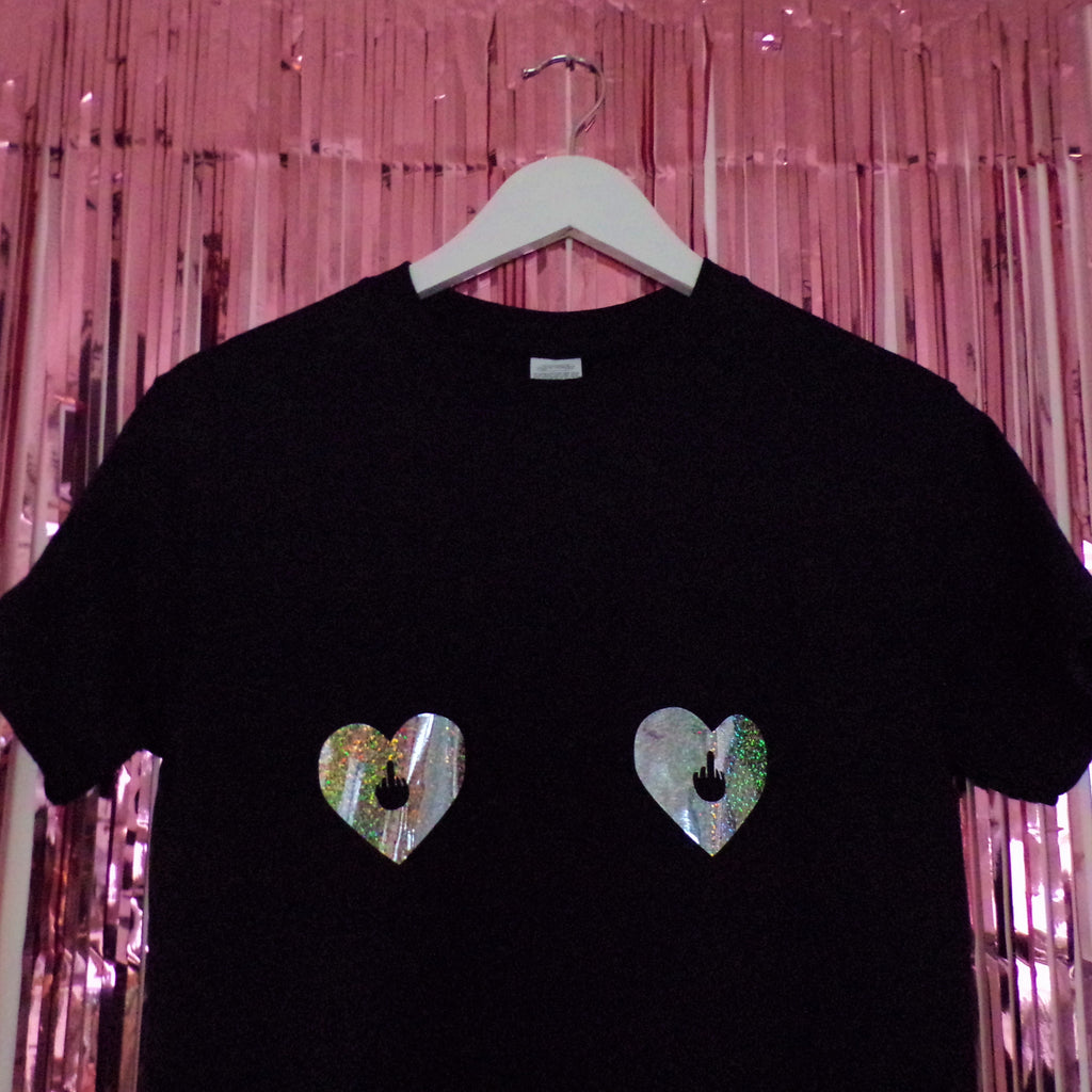 Tits Holographic Heart Nipples T-Shirt | Black ,Pink Clouding