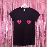 Tits Pink Glitter Hearts T-shirt | Black ,Pink Clouding