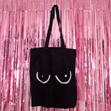 The CLASSIC Tits Tote Bag | Black ,Pink Clouding
