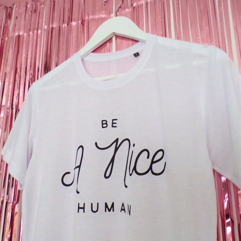 White Pink Clouding printed t-shirt with be a nice human printed in black close up 1