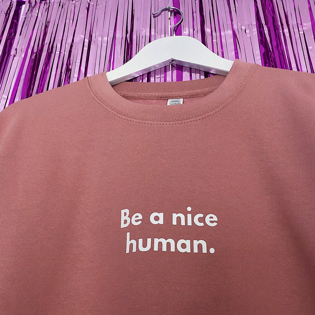 Be a Nice Human Jumper | Dusty Pink ,Pink Clouding