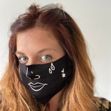 Face Mask | Black ,Pink Clouding