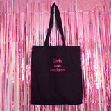 Girls Are Badass Pink Glitter Tote Bag | Black ,Pink Clouding