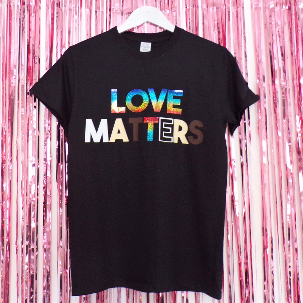 Love Matters T-shirt | Black ,Pink Clouding