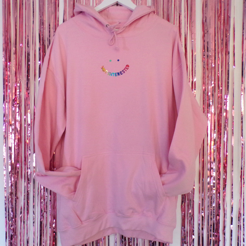 Not Interested Hoodie | Baby Pink
