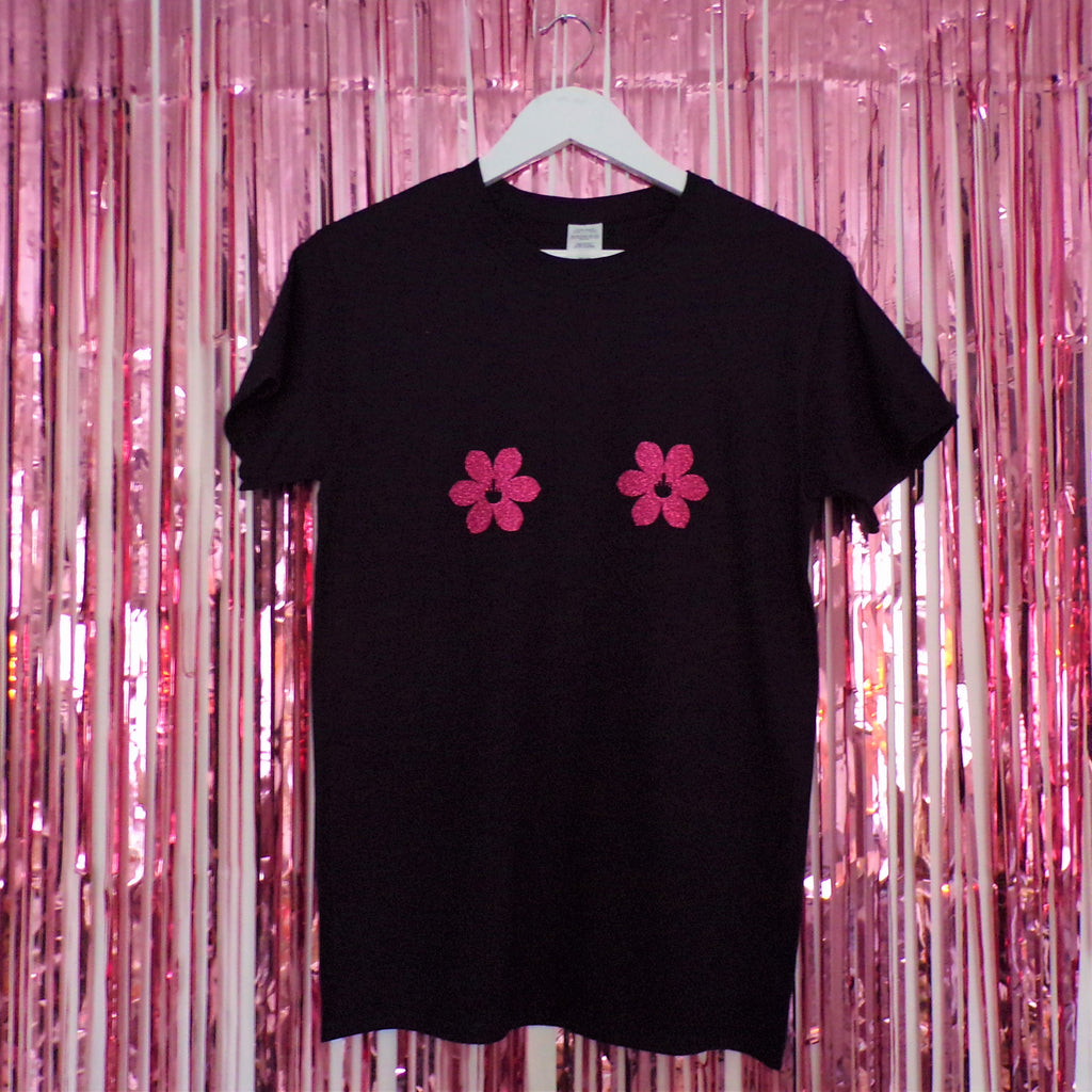 Tits T-shirt | Pink Glitter Flower Nipples ,Pink Clouding