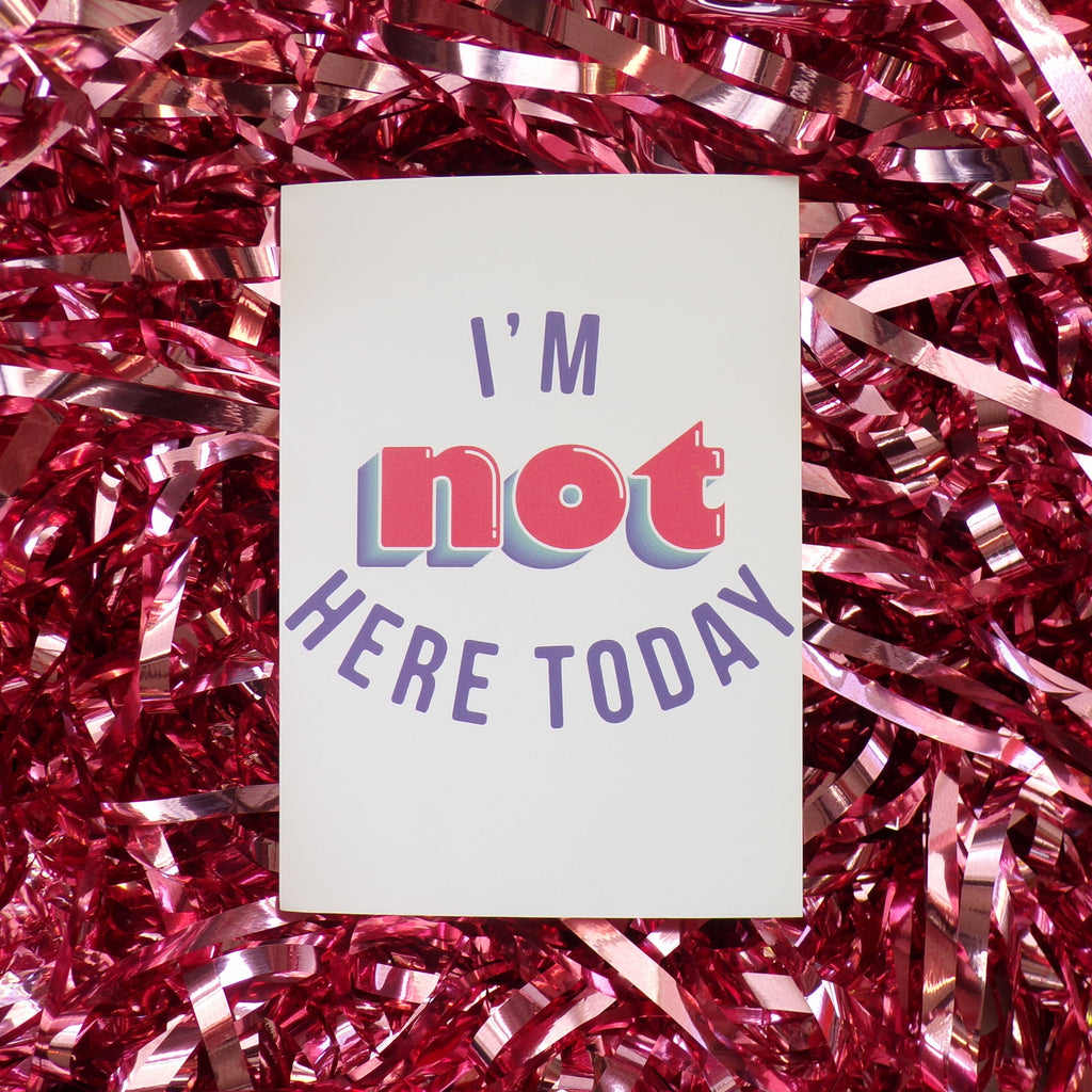 I'm Not Here Today | Postcard ,Pink Clouding