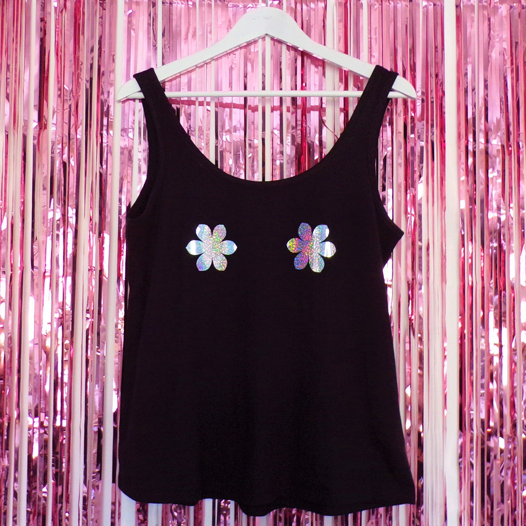 Tits Holographic Flower Nipples Vest | Black