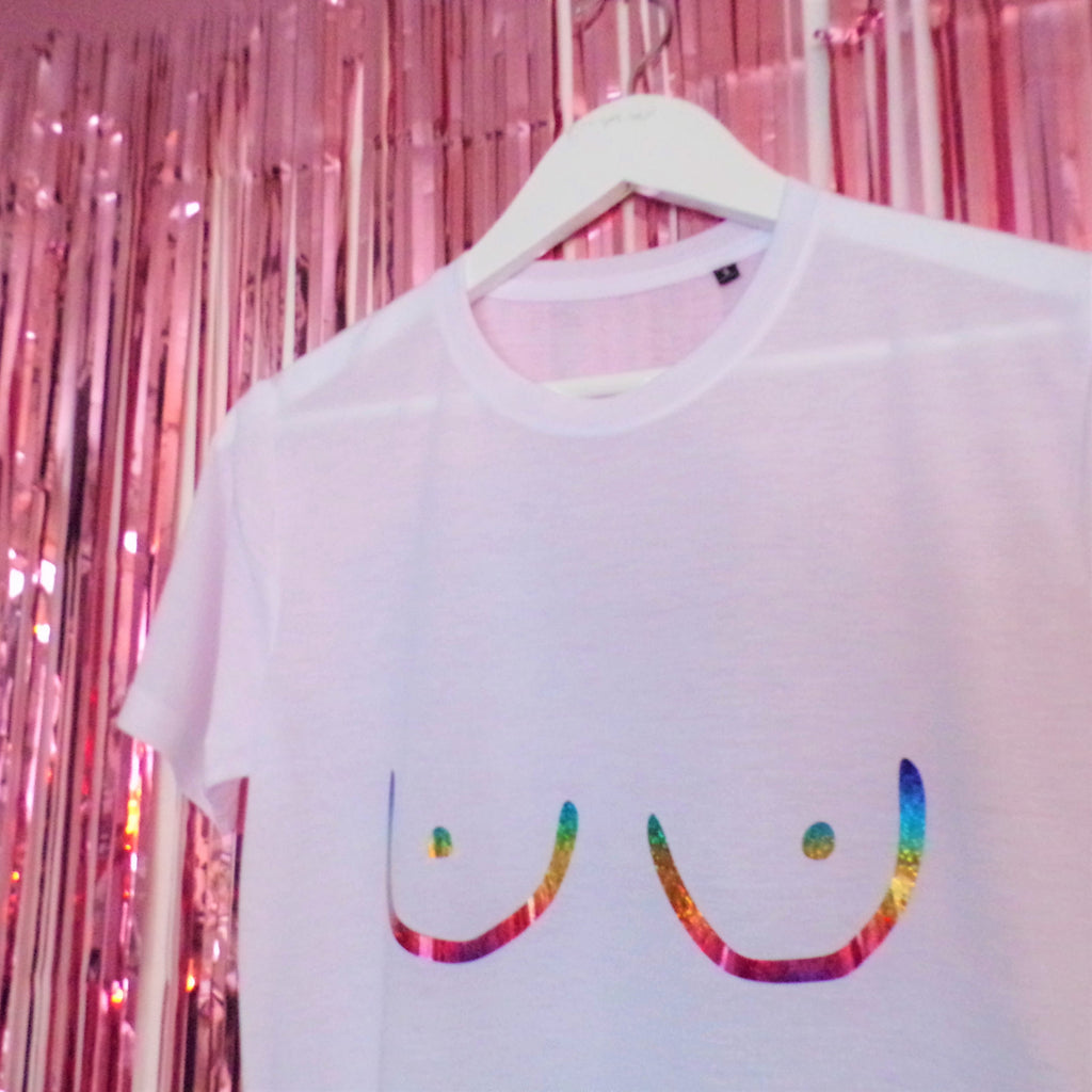 Rainbow Tits T-Shirt | White ,Pink Clouding