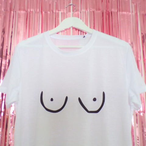 The classic Tits Tee by Pink Clouding black Tits print on a white t-shirt close up image