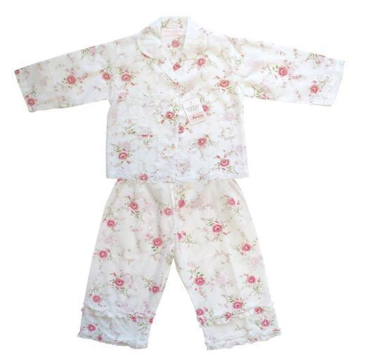 Children's nightwear, nightwear, nightie, nighty, girl's pjs, rose print, Powell Craft, vintage, cotton