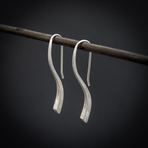 Silver, jewellery, flick, drop, earrings, by Annie Mundy