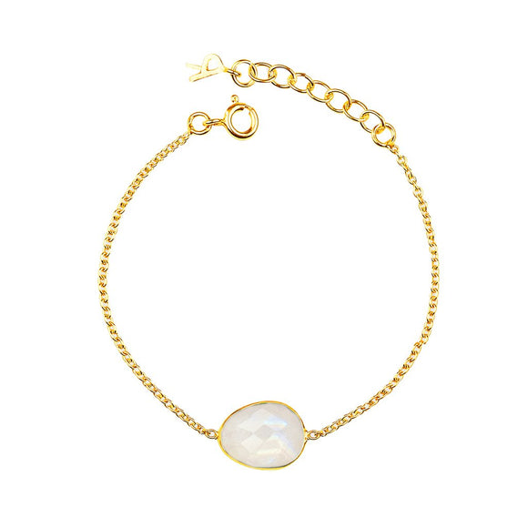 18ct Gold Plated, Vermeil, Organic, Oval, Moonstone, Semi Precious Gemstone, Handmade, Bracelet, Rodgers and Rodgers