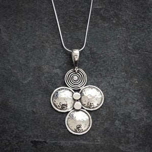Silver, cross, circular, handmade, handcrafted, necklace by Annie Mundy