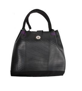 Recycled, rubber, vegan, faux leather, tote bag by Paguro