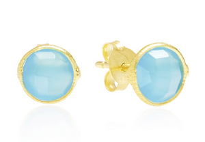 Light Blue Chalcedony, Gemstone, 18ct Gold Plated, Gold, Stud Earrings, Earrings, Rodgers and Rodgers, Handmade
