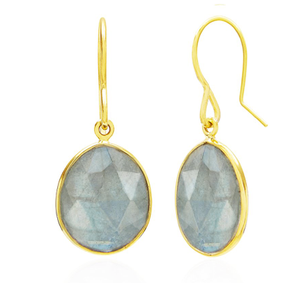 Labradorite Gemstone, 18ct Gold Plated, Earrings, Drop Earrings, Handmade, Rodgers and Rodgers,