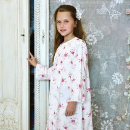 Soft cotton, cotton, floral, flower, nighty, nightdress, girl's nighty, girl's nightwear by Powell Craft
