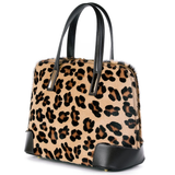 Italian, leather, tote bag, Leopard skin, cow hair, bag by Amilu