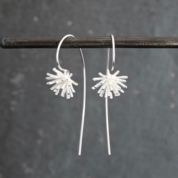 Flower head silver drop earrings by Annie Mundy