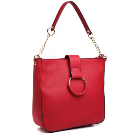 Faux leather, red, ring, shoulder bag, chain, bag by Bessie