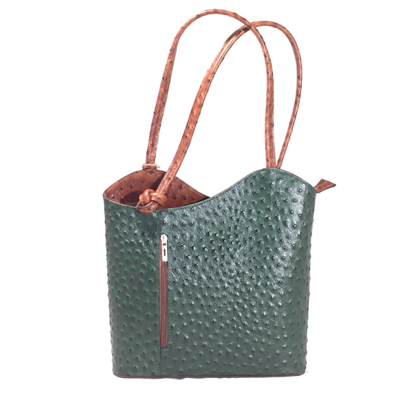 Satchel, shoulder bag, backpack, croc embossed, leather, green, bag by Italian Bag and Moda
