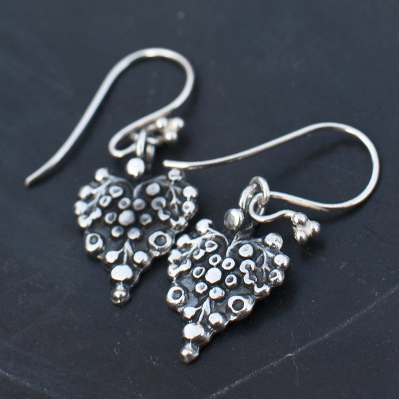 Silver heart earrings by Annie Mundy