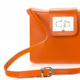Italian, leather, shoulder bag, crossbody bag, chrome clasp, orange, bag by The Italian Bag Company