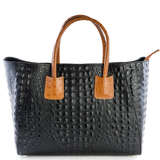 Italian, leather, tan, black, tote bag, croc embossed, bag by Amilu