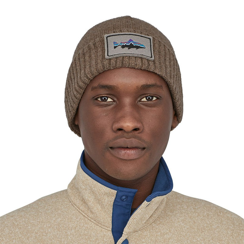 Brodeo Beanie - Fitz Roy Trout Patch: Ash Tan - Unisex - Vindpinad