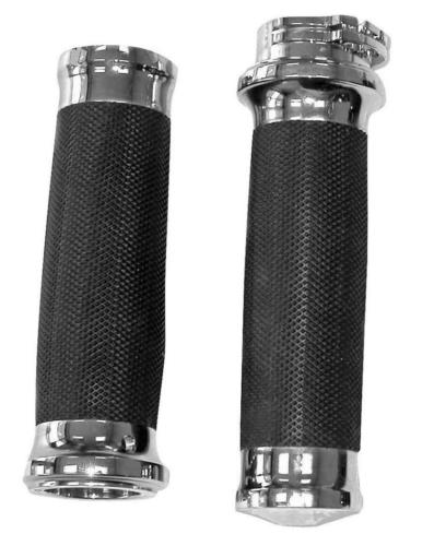 "Billet Chrome Tornado II Grips for Single or Dual Cable Harley Models w/ 1"" Bars"