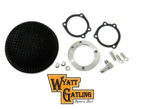 "Wyatt Gatling Bob Retro Black Round Mesh Air Cleaner 5.5"" Harley CV EFI 34-0742"