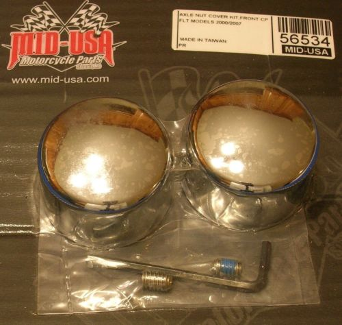 New Chrome Front Axle Nut Covers 2000-07 Touring 04-07 Dyna #43373-00 MU56534