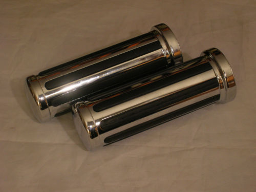 "New Chrome Rail Hand Grips 4 1"" Handlebar Harley Touring Softail Dyna XL Customs"