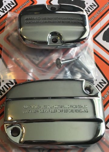 CHROME Front & Rear Master Cylinder Cover 2008-UP Touring Models 45451/45489