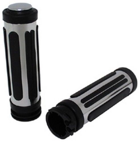 THROTTLE CONTROL GRIPS CHROME RUBBER SPLIT RAIL THROTTLE BY GRIPS '08-Up Touring
