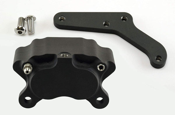 Black Ultima FRONT Brake Caliper Mount for 1984-1999 Harley Models (Except FXSTS) - Comes with a black 4-Piston Caliper - Harley Chopper Bobber Cafe Racer