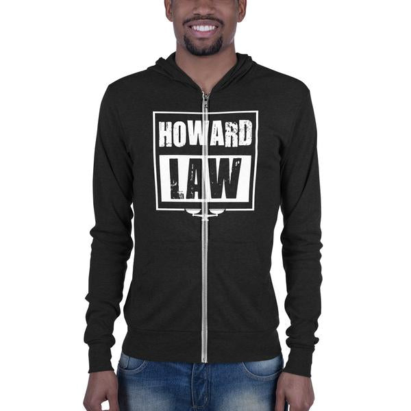Howard Law Slim Fit Unisex Zip Hoodie With Kangaroo Pockets - We Wear Our HBCUs