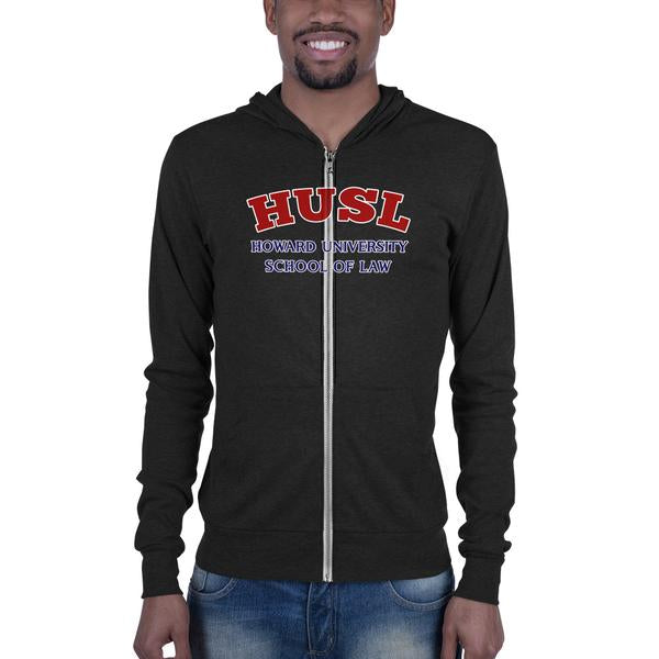 Howard University School of Law  HUSL  Unisex Slim Fit Zip Hoodie With Kangaroo Pockets - We Wear Our HBCUs