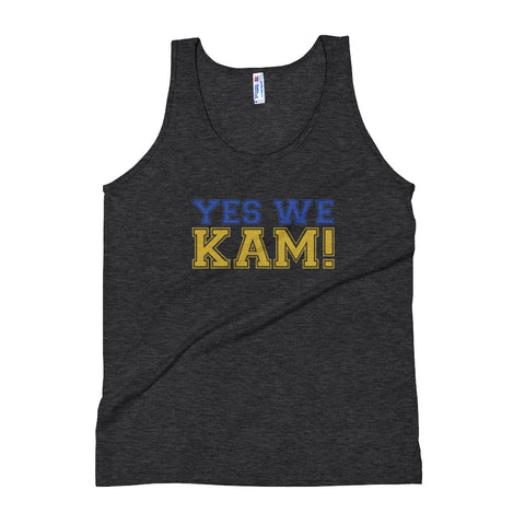 Yes We Kam Yellow and Blue Women's Tri-Blend Tank Top