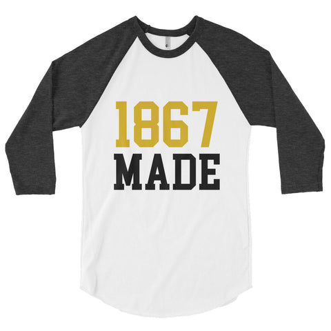 Alabama State University 1867 Made 3/4 sleeve raglan shirt - We Wear Our HBCUs
